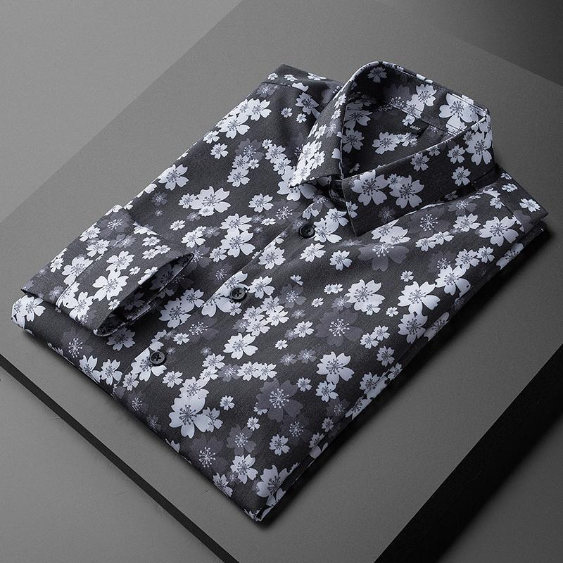 Erkek Casual Gömlek Minglu Tüm Baskılı Erkek Lüks Uzun Kollu Çiçek Elbise Moda Bahar Slim Fit Parti Erkek