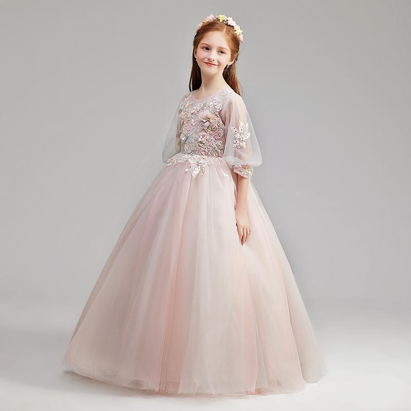 Girl Princess skirt flower child wedding dress fluffy yarn skirt children host Christmas show long sleeves autumn and winter