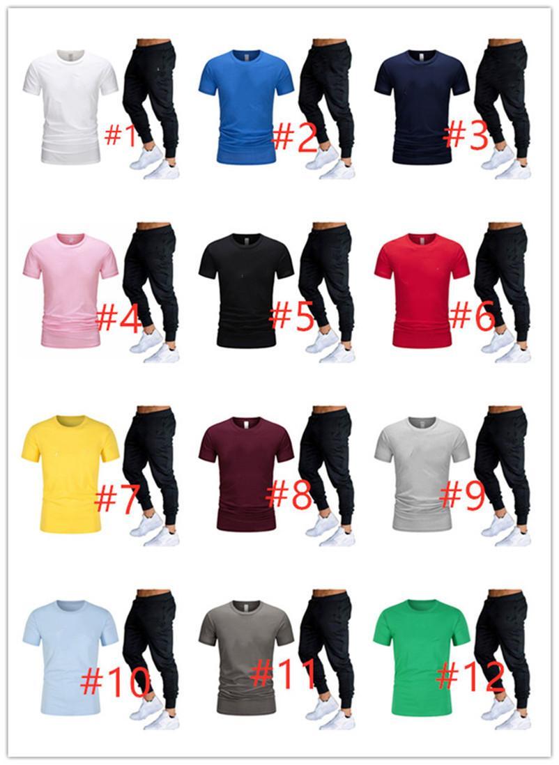 Summer Men short sleeve tracksuit Sport suit 2pc set white shirt Pants casual sportswear letter outfits sweatsuits 3400