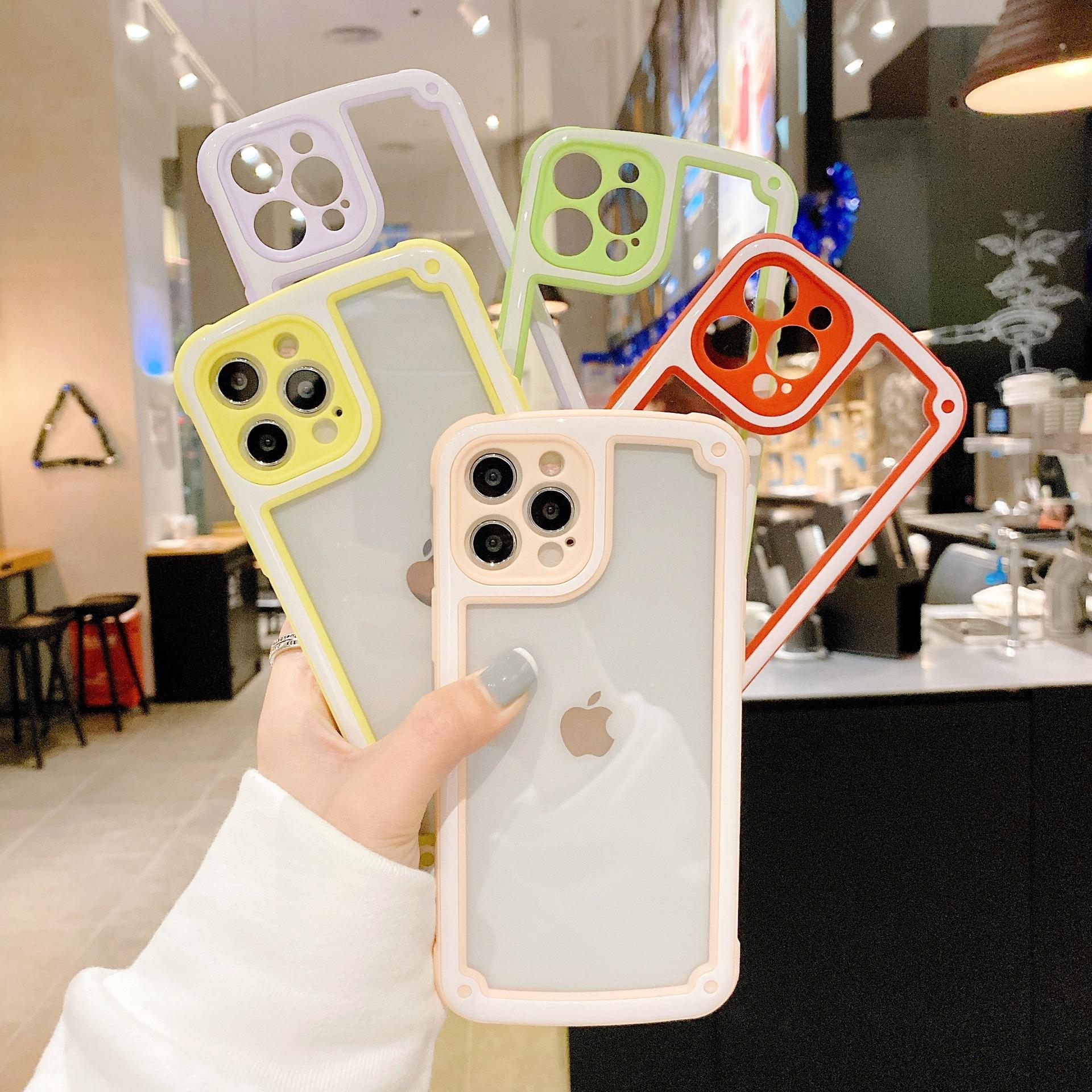 Süßigkeiten Dual Color Military Anti-Shock Clear Phone Cases für iPhone 12 Mini 11 PRO MAX 6 7 8 PLUS XR XS X