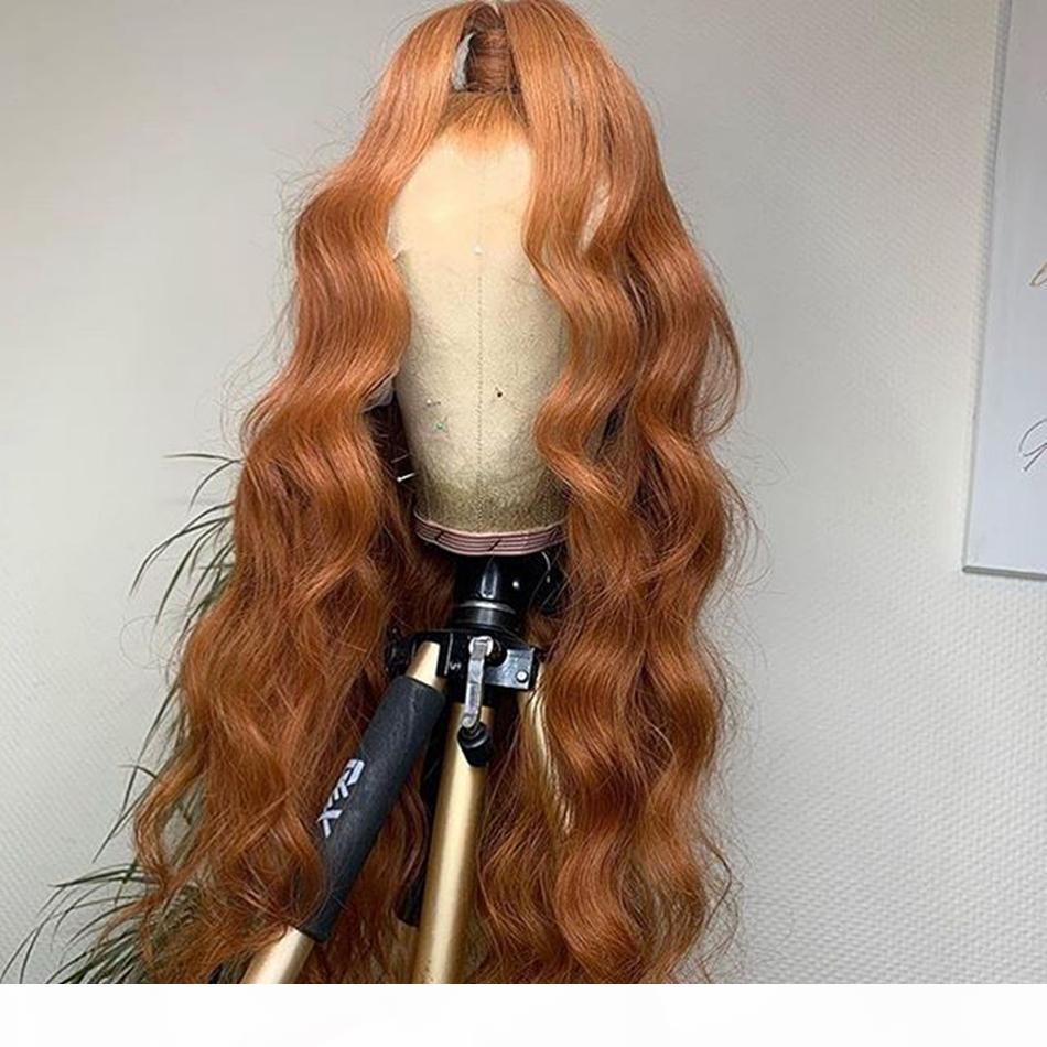 360 Frontal Body Wave Gingery Brown Human Hairleless Full Lace Pelucas de encaje completo para mujeres negras 13x6 Frente de encaje Remy Pelucas de cabello humano Preplucidado