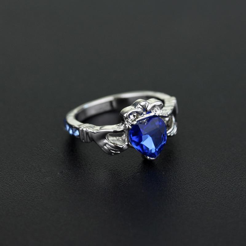 Yüzük ravenclaw okul halkaları kristal aşk holding kalp taç alyans mavi kristal yüzük -25