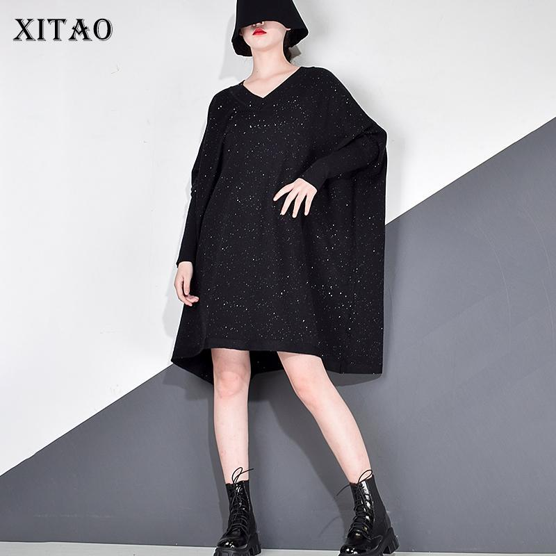 Xitao Sequins Örme Elbise Kadın Kış Moda Yeni Kore Tarzı V Boyun Yaka Uzun Batwing Kol Kazak Zarif GCC4178