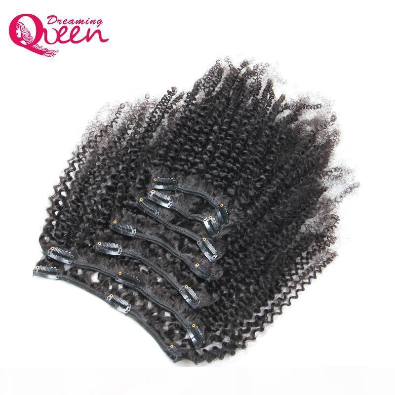 Clip bouclée mongol afro Kinky dans les extensions de cheveux humains 7 PCS Set Clips dans 4B 4C Motif Mongolian Vierge Human Hair Weave Bundles