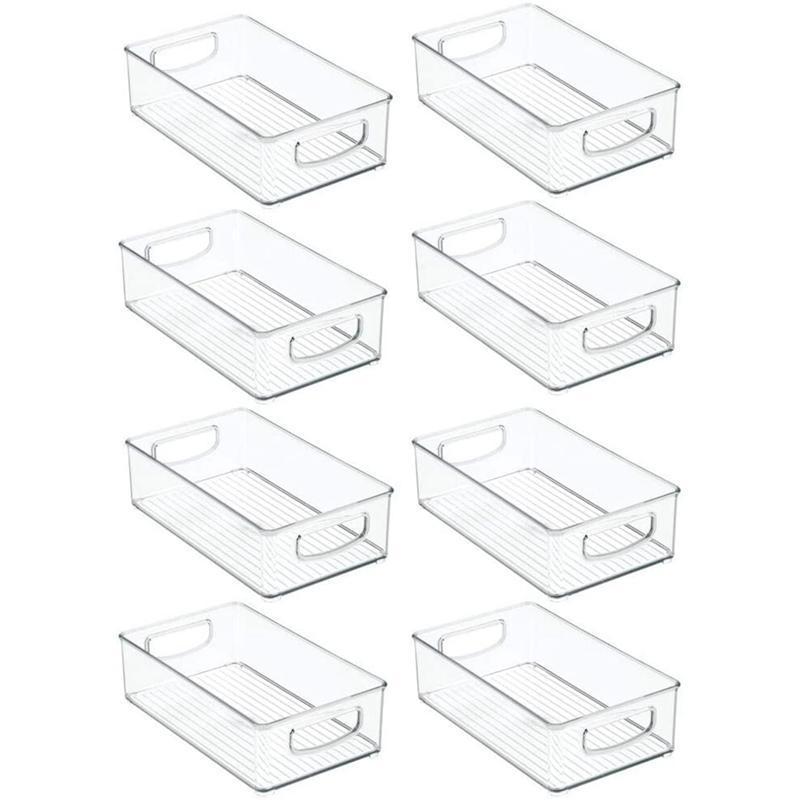 8pcs refrigerador organizador contenedores apilable nevera organizadores con manijas recortes transparente plástico despensa almacenaje estante