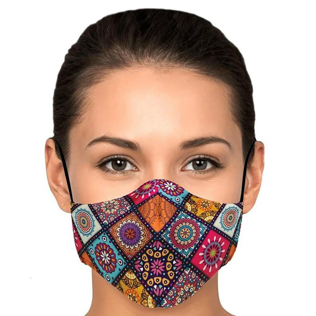 Filtro de cara en capas con la tela triple de nuevo espacio de la nariz de la nariz de la nariz ajustable los bucles de oreja lavable reutilizable de algodón de algodón con máscara de impresión