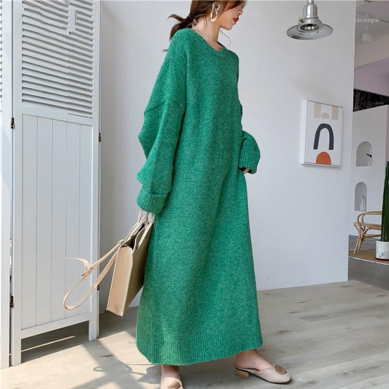Женские свитера 2021 круглые шеи полные рукава вязаные пуловер свободный длинный большой размер кашемировой женское свитер платье F7421