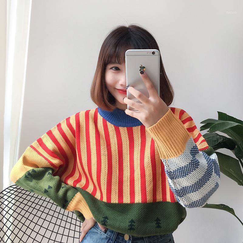 Kadın Kazak Ücretsiz Vadi Kadın Kawaii Ulzzang Gevşek Vahşi Renk Dikiş Kore Örme Kazak Kadın Giyim Kadınlar için11