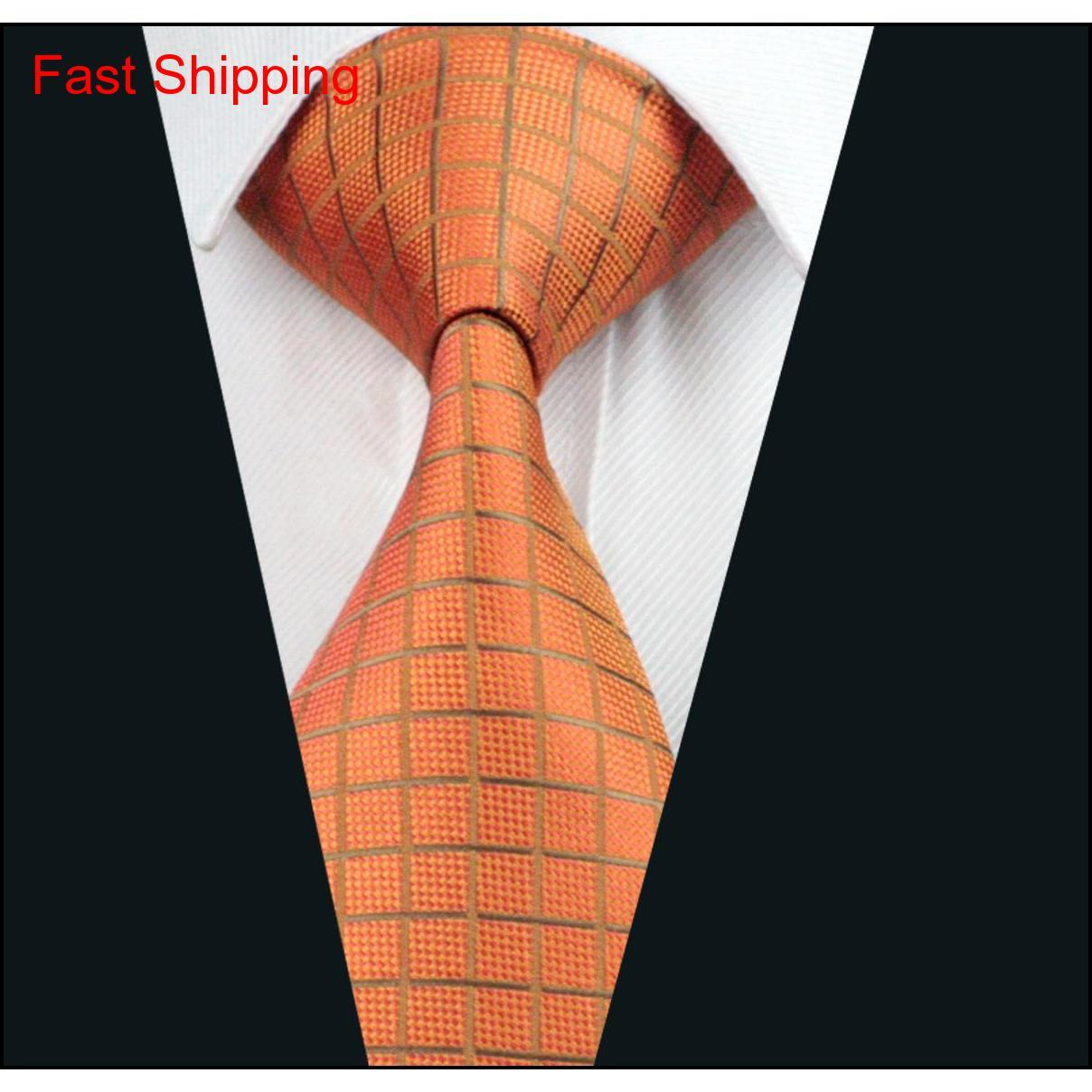 Classic Plaid Orange Mens Ties Pocket Square Cufflinks Set Jacquard Woven Neck Tie Set Silk Mens Set Business Wo qylEPx queen66
