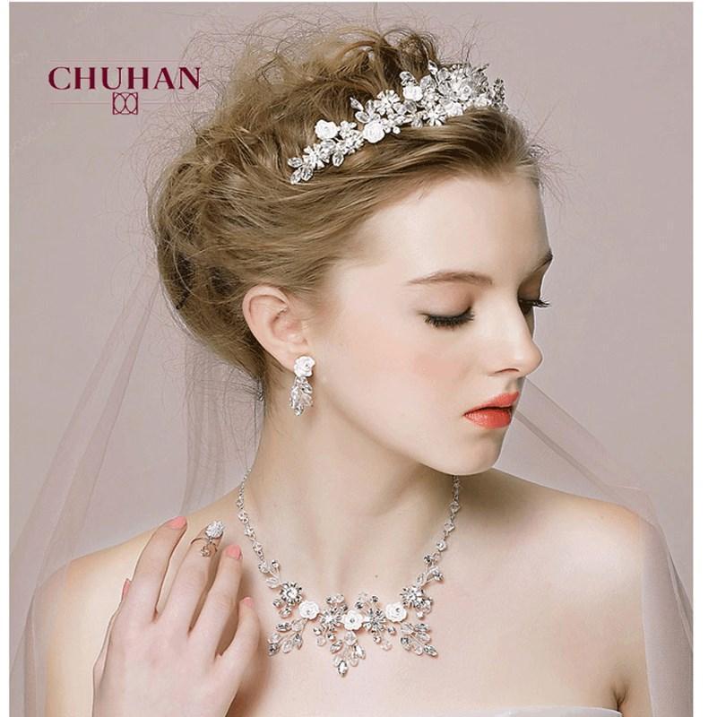 Chuhan популярные свадебные ювелирные изделия наборы горный хрусталь кристалл Tiara Crown серьги ожерелье свадьба для невесты роскошные украшения J358