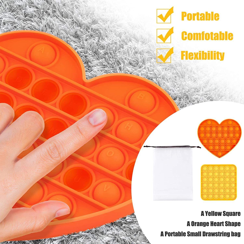 Push Pop Bubble Sensosory Fidget Toy 2PCSPOP IT Fidget Toy для облегчения стресса AUTISTHELP Восстановление Emotionsyellow Heade Square Sealorge Heart