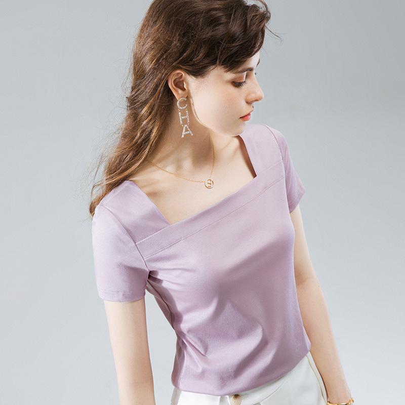 Basit Temel Yuvarlak Boyun Uzun Kollu T-shirt Kadınlar Için Kore Versiyonu Tasarım Duygu Düzensiz Fold Giyim Gevşek Alt Gömlek 5045