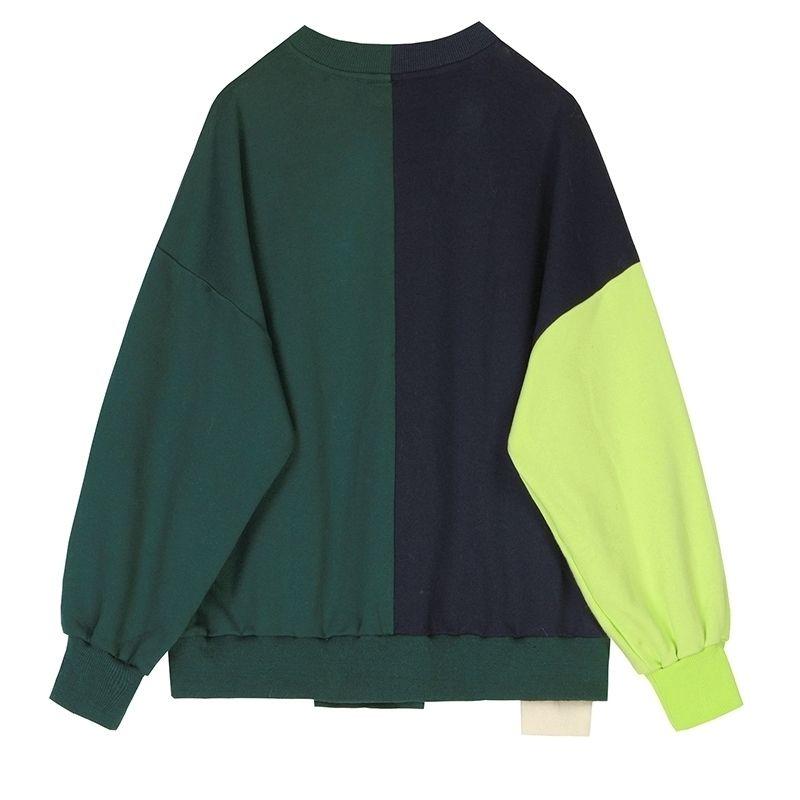 [EAM] Loose Fit Plaid Stitch Oversized Sweatshirt New Round Neck Long Sleeve Women Big Size Fashion Tide Spring 1S349 201202
