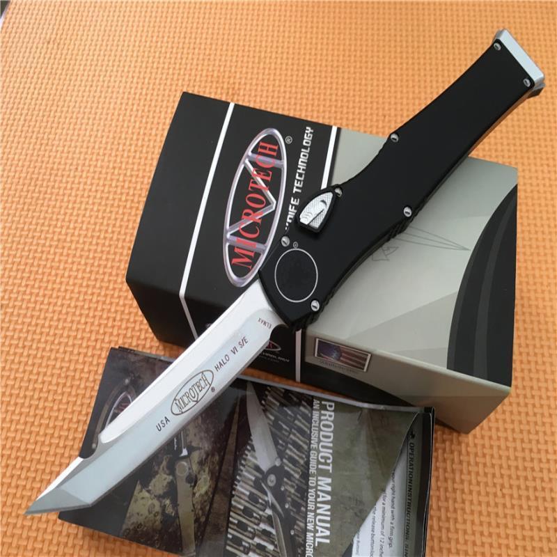 """Blade, MT-Tech Survival 250-1 Кемпинг Алюминиевая Черная равнина Горячая! Черный 4.4 """"Ручка Открытый Автоматически Автоматические Ножи Танто Нож H-VI WXJUJ"""