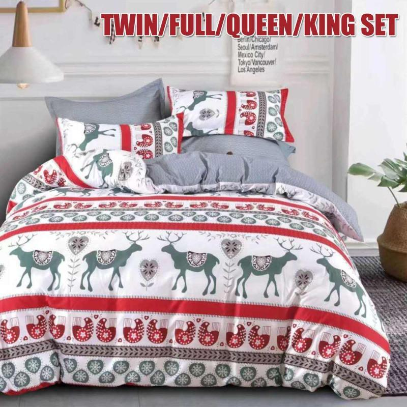 Christmas Bedding Sets Luxury Twin Queen King Size Duvet Cover Set Pillowcase Kids Comforter Cover Set Home Bedspread Bed