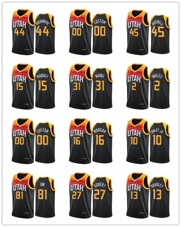 UtahJazzMänner Bogdanovic Mike Conley Rudy Gobert Donovan Mitchell 2020-21 Stadt Basketball Jersey Neue Uniform