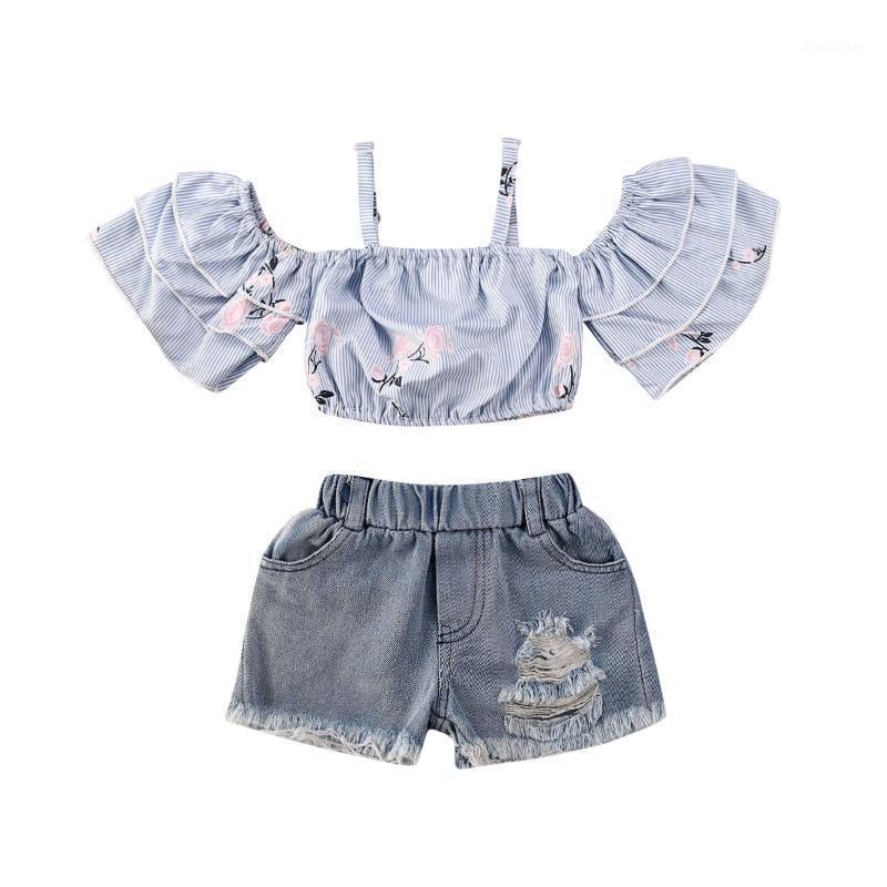 Bebê criança crianças meninas roupas fora do ombro t-shirt tops + denim saia shorts roupas roupas de bebê set1