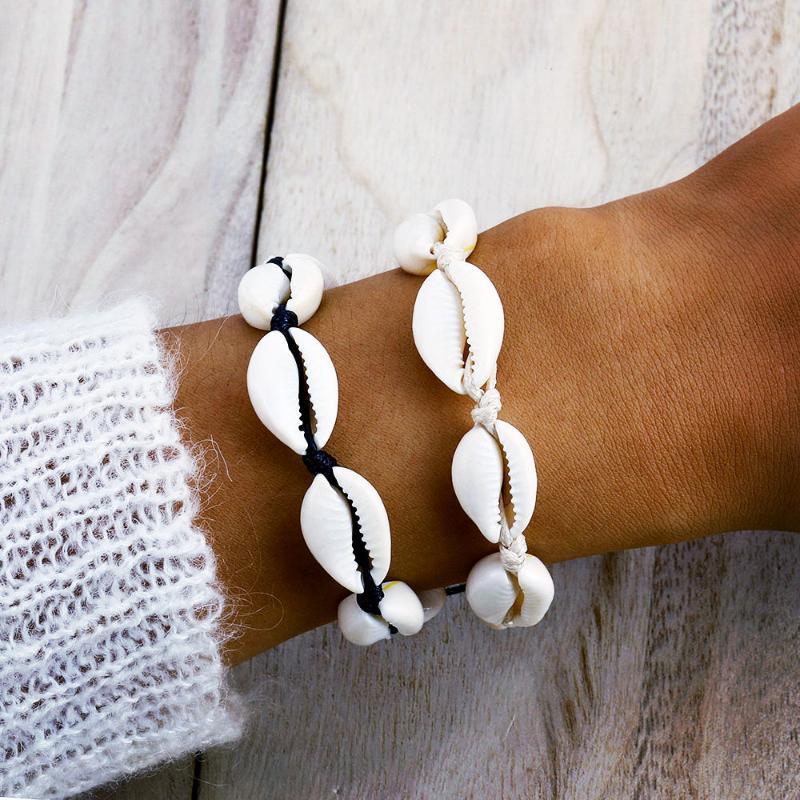 Braccialetto tessuto conchiglia fatti a mano per le donne 6 colori Braccialetti Accessori Sandbeach Gioielli moda Kah127