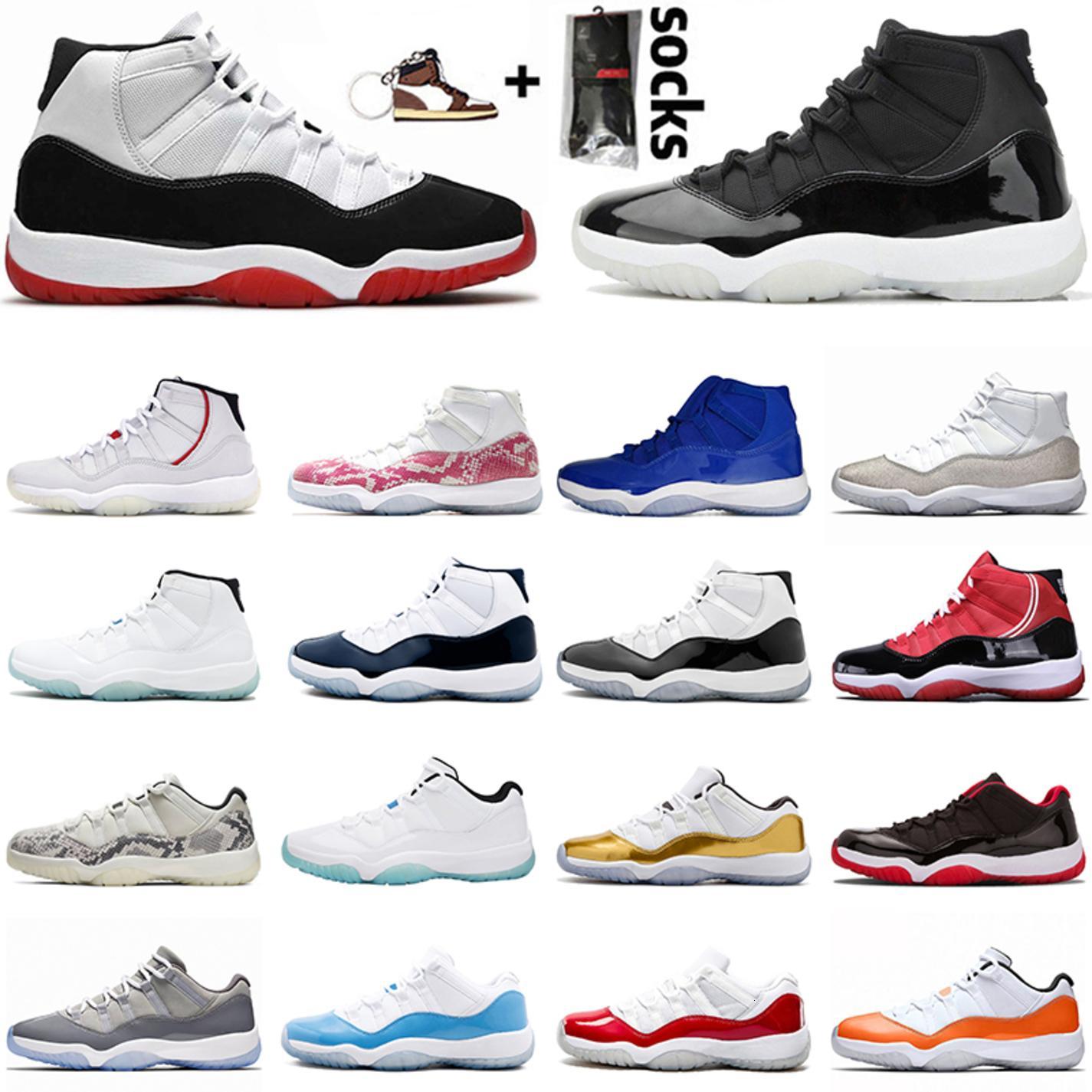 25e anniversaire 11 hommes chaussures de basket-ball de femmes élevées Bred Concord Concord Cap 11s Cap et robe Satin \ r \ r Legend Blue Sport Sneakers