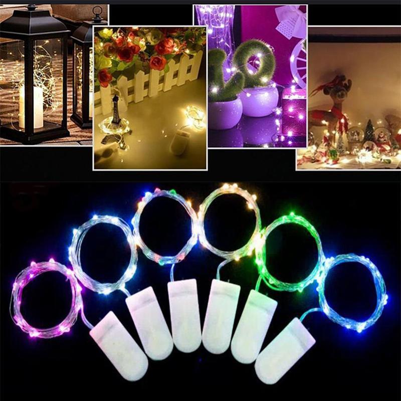 2 M 20 LED Peri Işıkları Dize Yıldızlı CR2032 Düğme Pil Kumandalı Gümüş Noel Cadılar Bayramı Dekorasyon Düğün Işık