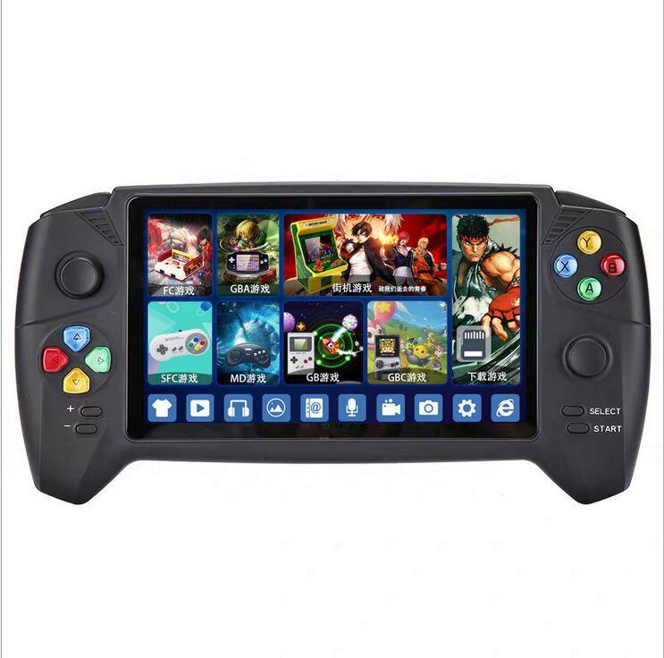최신 RS-08 핸드 헬드 게임 플레이어 클래식 7.0 인치 핸들 레트로 게임 콘솔 듀얼 조이스틱 PSP GBA NES FC 게임 플레이어