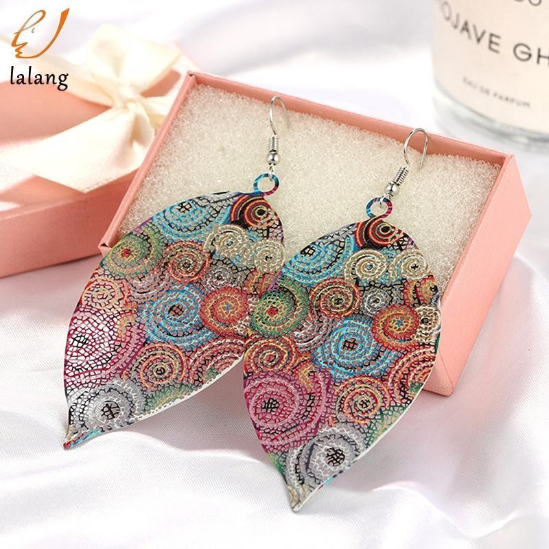 Neue Mode Luxus Boho Multicolor Blatt Baumeln Ohrringe Vintage Blätter Lange Quasten Drop Ohrring Für Frauen Schmuck