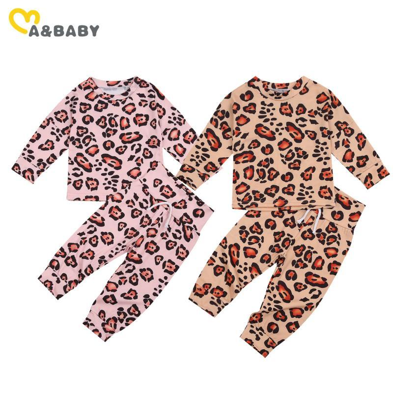 Mababy 0-24m otoño primavera recién nacido bebé niñas niñas niñas pijama conjunto leopardo manga larga ropa de dormir conjuntos de sueño suave