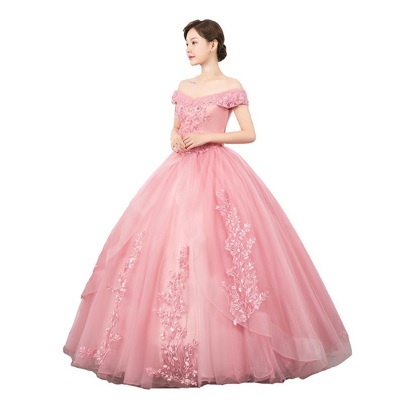 100% echtes Rosa / Wein Red Stickerei Slash Kragen Fee Bühne / Opera Ballkleid Mittelalterliches Kleid Renaissancekleid Königin viktorianisches Kleid / Marie