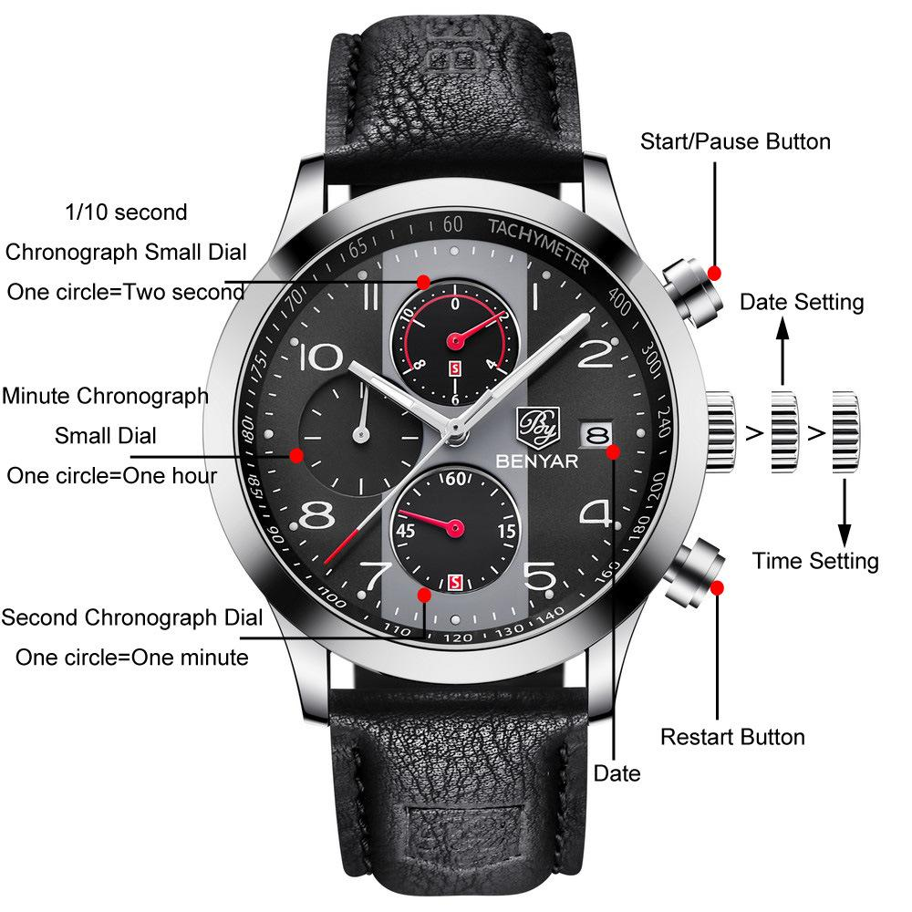 Benyar 43mm Reloj de cuarzo para hombre Venta caliente Top Luxury New Cuero Strap Watch Tres Small Dial Pointer Business Watch