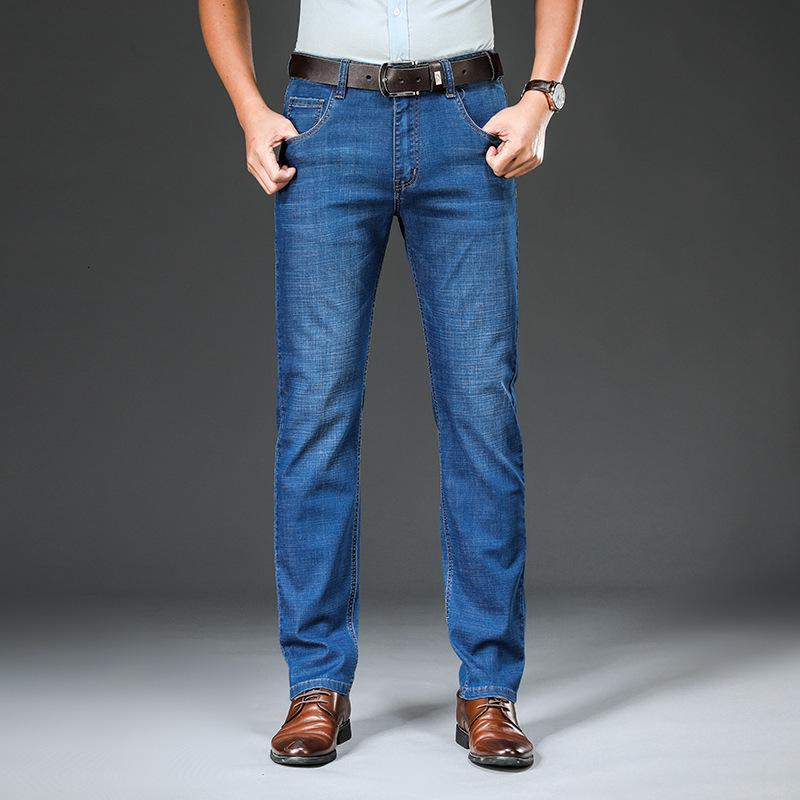 Прямые лето тонкие растягивающиеся джинсы мужские большие