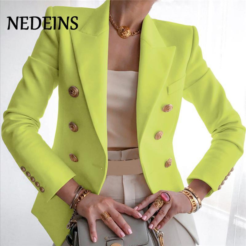 Nedeínsias Outono Blazer Mulheres Dupla Breasted Blazer Casaco De Moda Metal Leão Botões Sólido Color Revestimentos Escritórios Senhoras Outfit 201114