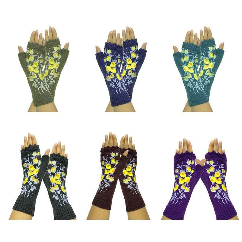 El yapımı Örme kadın Kış Eldiven Sonbahar Çiçekler Parmaksız Eldiven Siyah Eldivenler Sıcak Yün Nakış