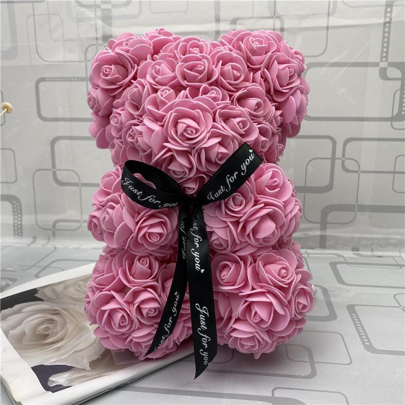 Розовый плюшевый мишка новый день Святого Валентина подарок 25 см цветочный медведь искусственное украшение рождественский подарок для женщин валентинок подарок морской путь bwf3817