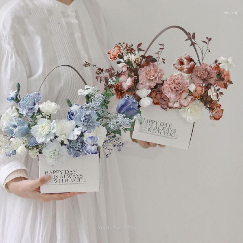 Nova caixa de embalagem de flor 4 pcs com cabo de arranjo de flor caixas impermeáveis kraft papel sacos cesta caixa de basquete1