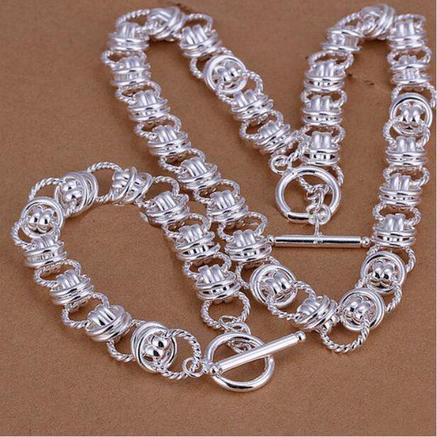 112G тяжелый серебряный серебристый серебристый комплект GS19 высококачественный унисекс 925 серебристый ожерелье из очарования браслет набор оптом розничная торговля, микс заказ
