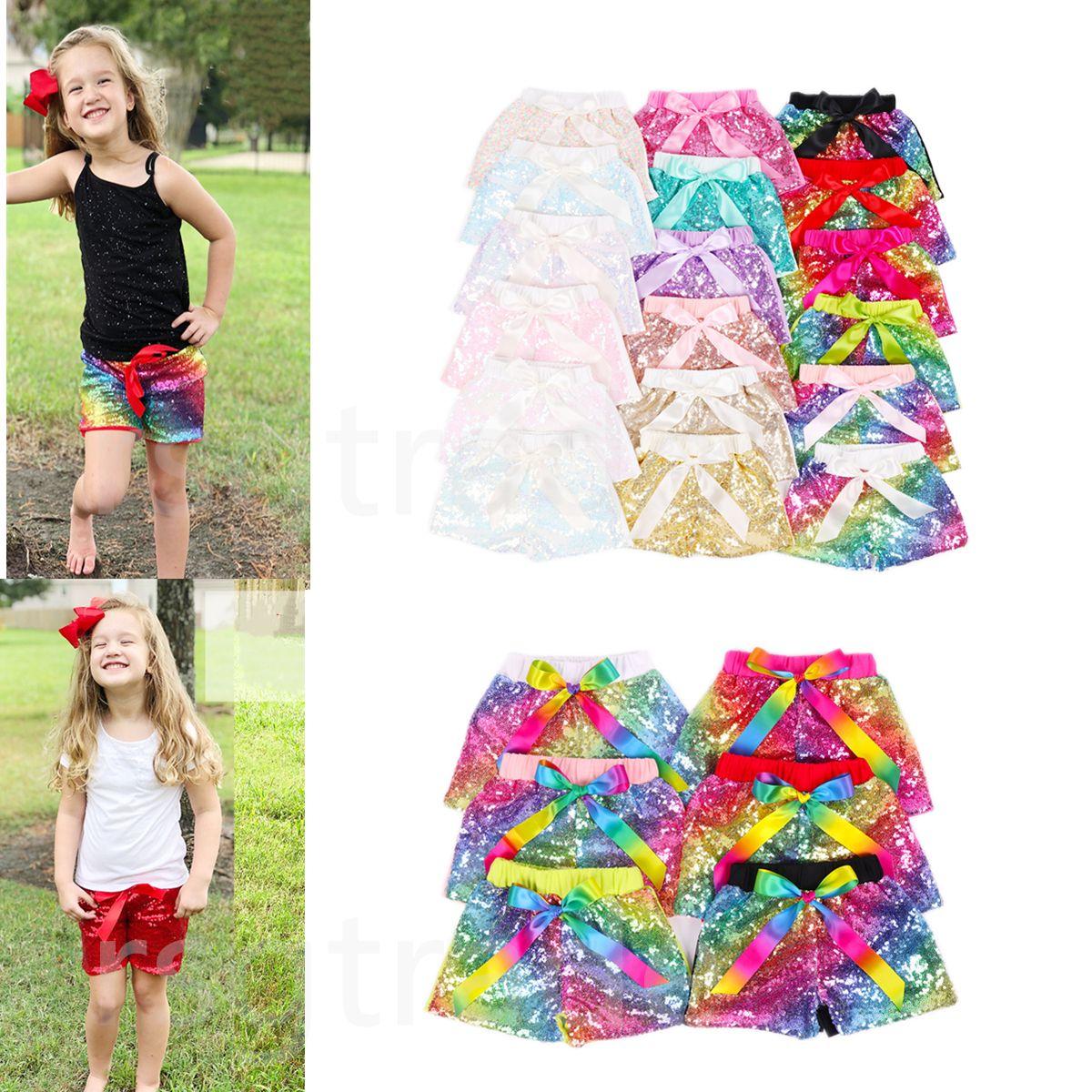 GRATIS DHL INS Toddler Baby Gold Sequins pantaloncini pantaloni per ragazze estive sattin bowknot party pantaloni corti bambini boutique bambini pantaloncini da ballo