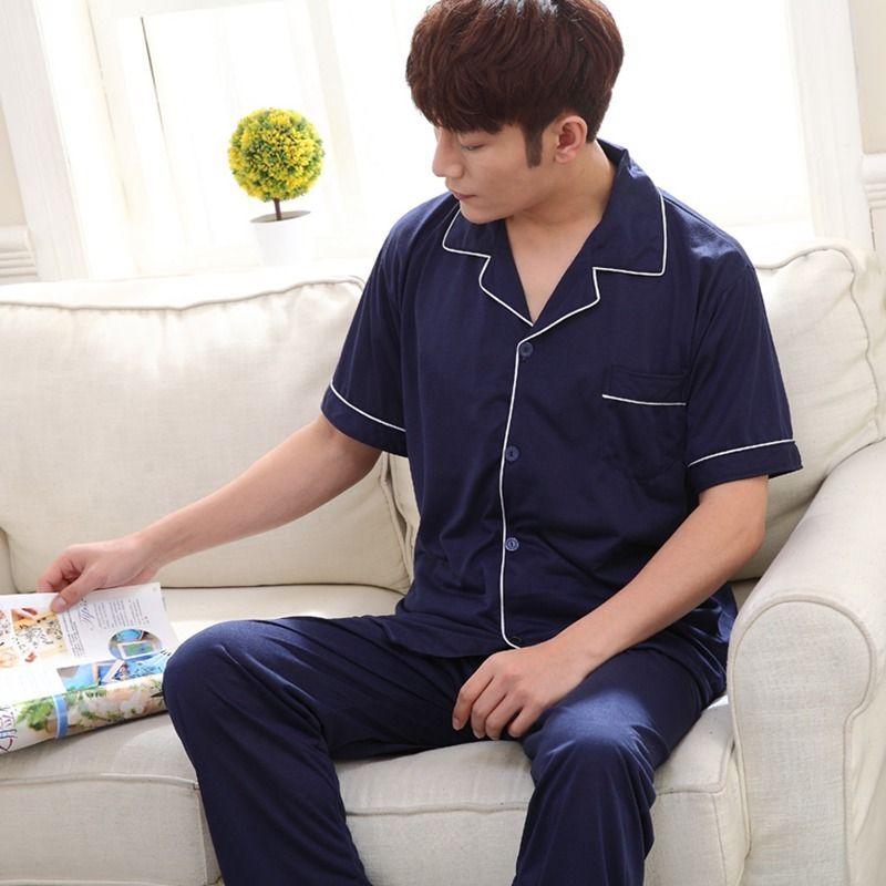 2020 Verão Algodão de Manga Curta Calças Longa Pijamas Conjuntos para Homens Sleepwear Outwear Pijama Masculino Homewear Lounge Use Home Roupas Q1202