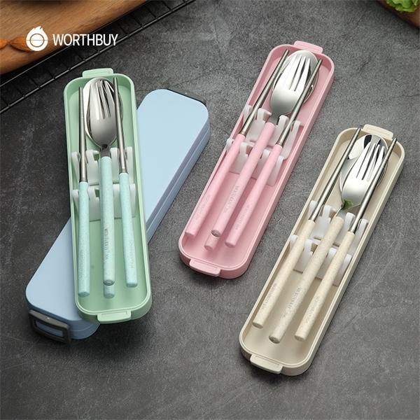 Softbuy портативные туристические посуды набор 304 посуда из нержавеющей стали набор с пшеничной соломенной ручкой коробка кухонные столовые приборы ужин набор Y1119
