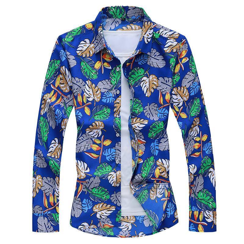 الرجال عارضة القمصان الأزياء ورقة طباعة طويلة الأكمام كبيرة الحجم قميص ضئيلة / 2021 الخريف الربيع القطن زهرة البلوزات