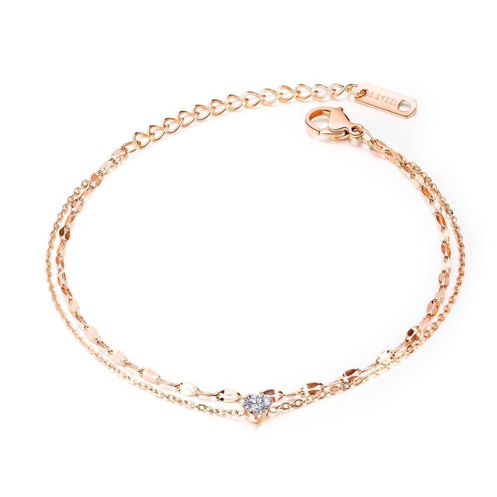 جديد بسيط الزركون متعدد الطبقات خلخال ارتفع الذهب اللون المقاوم للصدأ مجوهرات امرأة هدية بالجملة لا تتلاشى