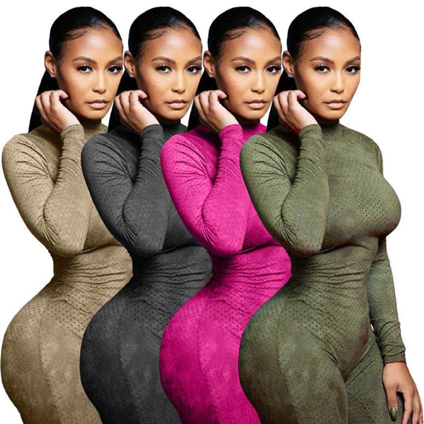 Women mesh club jumpsuits solid color rompers sexy Long Sleeve Overalls One Piece Pants Sports Skinny Slim bodysuits Falll Clothing DHL 4325