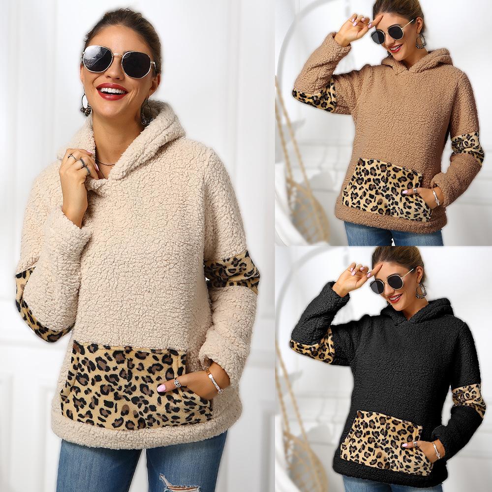 2Colour S-XL 여성 패션 캐주얼 더블 페이스 양털 레오파드 패턴 스티치 스웨터 여성의 긴팔 탑 풀오버 40605027495877