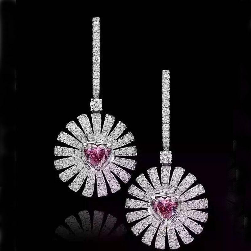 Fashionable and Luxurious Suower Long Earrings with Copper Zircon Inlaid
