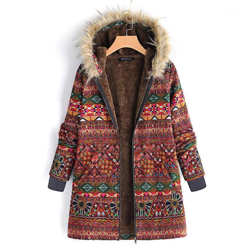 Frauen Faux Pelzmantel Winter Warme Outwear Blumendruck Mit Kapuze Taschen Vintage Übergroße Mäntel Casaco Inverno Feminino # 2o171
