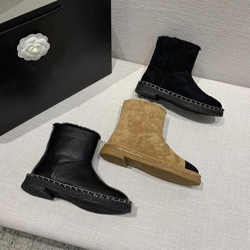 Novos sapatos de venda quente mulheres inverno meados de pêlo de pêlas mulheres botas de couro genuíno baixo saltos de pé redondo decoração de metal botas zapatos de mujer