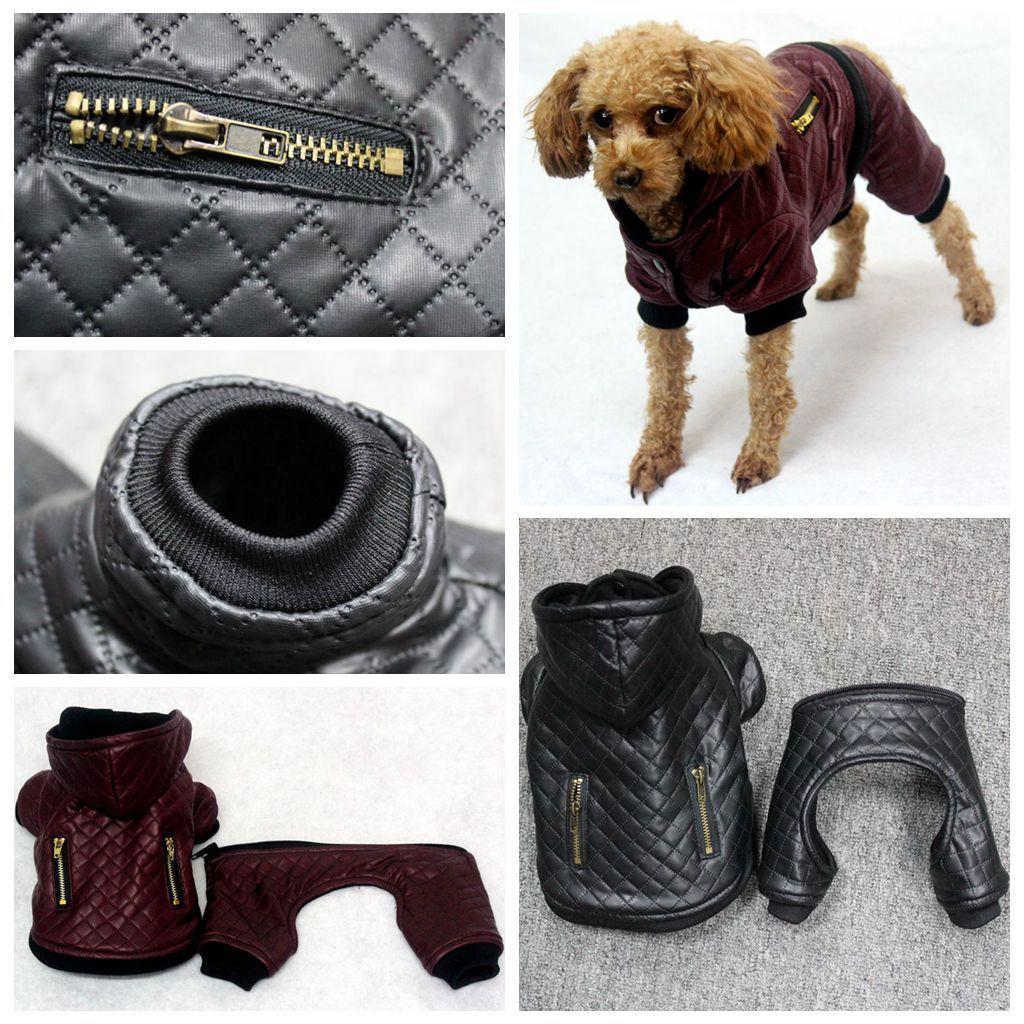 جديد تصميم الجلود كلب الملابس الشتوية انفصال اثنين من مجموعة معطف الكلب سترة الدافئة أربعة أرجل هوديي الكلب الملابس الحيوانات الأليفة الملابس