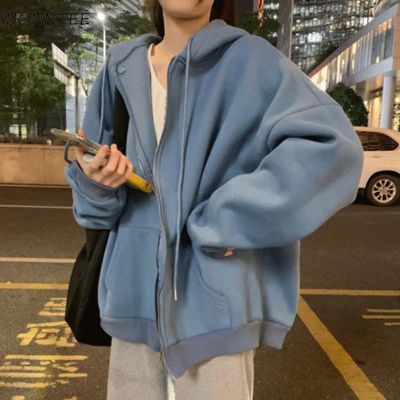 Basic femmina lettera oversize con cappuccio Semplice zip-up con cappuccio autunno tuta sportiva popolare ins zipper stile donne quotidiano coreano adolescenti tchee