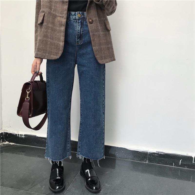 Jeans denim sólido sólido borla senhora elegante perna larga calça tornozelo-comprimento alta cintura cintura feminina calças tamanho grande básico classic clássico