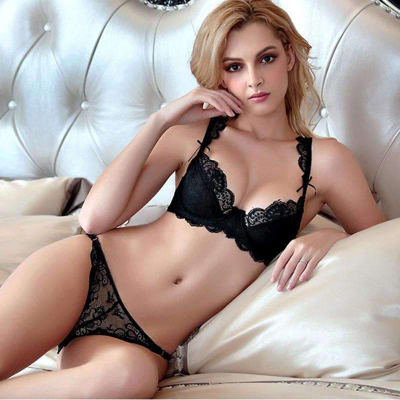 BH Set Push Up Sexy Winteries Set Große Größe 95d Ultra dünne sexy Intimates BH Set Underwirred Lace SHORT Sets Unterwäsche F17081 C1211