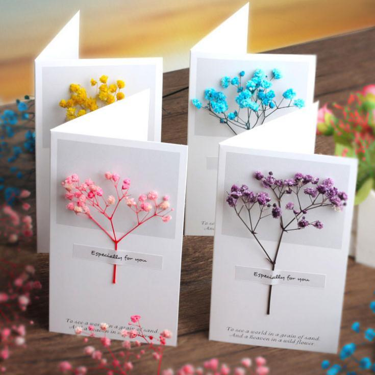 Flowers Greeting Cards Gypsophila dried flowers handwritten blessing greeting card birthday gift card wedding invitations OWD3243